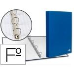 Liderpapel CA19 - Carpeta de anillas, 4 anillas mixtas de 25 mm, cartón forrado, tamaño folio, color azul
