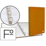 Carpeta de 4 anillas 25 mm mixtas Liderpapel tamaño folio cartón forrado paper coat color naranja
