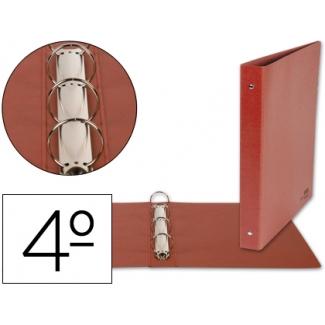 Carpeta de 4 anillas 25 mm redondas Liderpapel tamaño cuarto cartón cuero