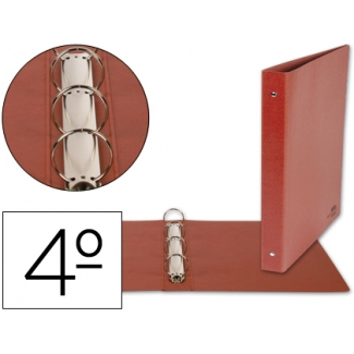 Liderpapel CA06 - Carpeta cartón cuero, 4 anillas redondas de 25 mm, tamaño cuarto