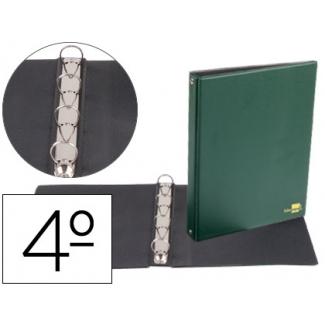 Carpeta de 4 anillas 25 mm redondas Liderpapel tamaño cuarto plástico color verde