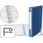Carpeta de 4 anillas 25 mm redondas Liderpapel tamaño folio cartón forrado color azul