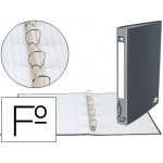 Carpeta de 4 anillas 25 mm redondas Liderpapel tamaño folio cartón forrado color gris