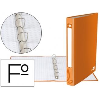 Carpeta de 4 anillas 25 mm redondas Liderpapel tamaño folio cartón forrado color naranja