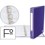Carpeta de 4 anillas 25 mm redondas Liderpapel tamaño folio cartón forrado color violeta