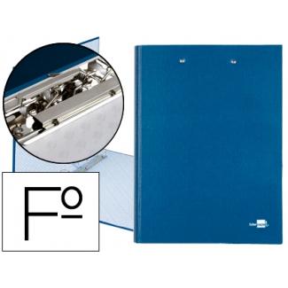 Carpeta de 4 anillas 25 mm redondas Liderpapel tamaño folio cartón forrado paper coat color azul con miniclip