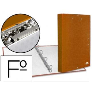 Liderpapel CA13 - Carpeta de anillas, 4 anillas redondas de 25 mm, cartón forrado, con solapa, miniclip, cierre con gomas, tamaño folio, color naranja frosty