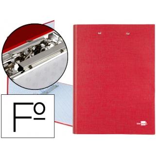 Carpeta de 4 anillas 25 mm redondas Liderpapel tamaño folio cartón forrado paper coat color roja con miniclip