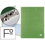 Carpeta de 4 anillas 25 mm redondas Liderpapel tamaño folio cartón forrado paper coat color verde con miniclip