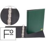 Carpeta de 4 anillas 25 mm redondas Liderpapel tamaño folio plástico color verde