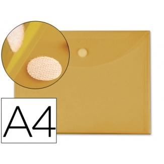 Carpeta dossier Liderpapel tamaño A4 cierre de velcro amarilla