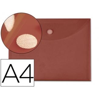Carpeta dossier Liderpapel tamaño A4 cierre de velcro color burdeos