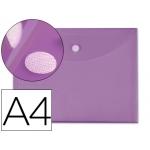 Carpeta dossier Liderpapel tamaño A4 cierre de velcro color violeta