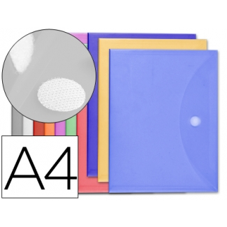 Carpeta dossier Liderpapel tamaño A4 cierre de velcro colores surtidos pack 10+2 gratis