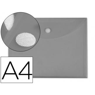 Carpeta dossier Liderpapel tamaño A4 cierre de velcro humo