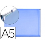 Liderpapel DS06 - Dossier con cremallera, A5, 180 micras, capacidad para 50 hojas, color azul transparente