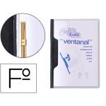 Carpeta dossier fastener plástico Saro tamaño folio con ventana color negro