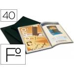 Carpeta escaparate plástico Liderpapel 40 fundas tamaño folio color negro