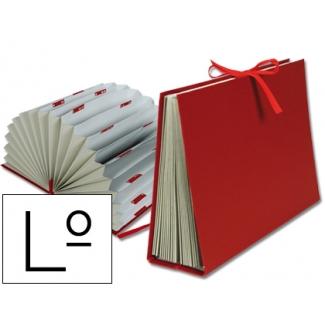 Liderpapel FU06 - Carpeta clasificadora con fuelle, cartón forrado, tamaño letras, 20 departamentos, color burdeos