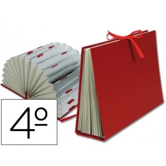 Liderpapel FU03 - Carpeta clasificadora con fuelle, cartón forrado, tamaño cuarto, 20 departamentos, color burdeos