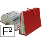 Carpeta fuelle Liderpapel tamaño folio cartón forrado color burdeos