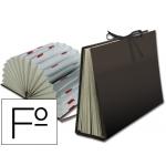 Liderpapel FU02 - Carpeta clasificadora con fuelle, cartón forrado, tamaño folio, 20 departamentos, color negro