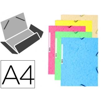 Carpeta goma Exacompta tamaño A4 3 solapas cartulina ilustrada colores pastel surtidos