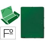 Carpeta goma cartón gofrado solapa tamaño folio color verde tres solapas