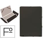 Carpeta goma cartón gofrado solapa tamaño folio negra tres solapas