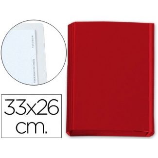 Carpeta gomas solapas fastener cartón forrado geltex 4 índices color rojo