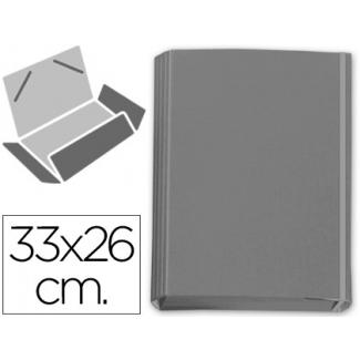 Carpeta gomas solapas fastener cartón forrado geltex color gris