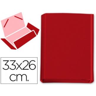 Carpeta gomas solapas fastener cartón forrado geltex color rojo