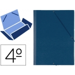 Carpeta gomas solapas plástico Saro tamaño cuarto color azul