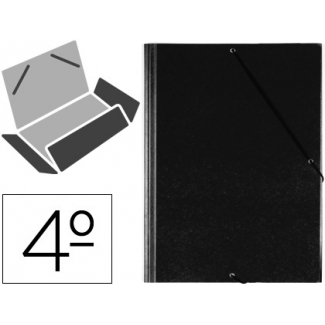 Saro 121-G-NE - Carpeta de plástico con gomas, con tres solapas, lomo flexible, tamaño cuarto, color negro