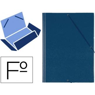 Carpeta gomas solapas plástico Saro tamaño folio color azul