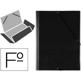 Saro 321G-N - Carpeta de plástico con gomas, con tres solapas, lomo flexible, tamaño folio, color negro