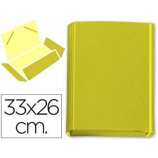 Carpeta gomas solapas vacia cartón forrado geltex color amarillo