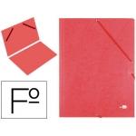 Carpeta liderpapel gomas cartón simil-prespan sencilla tamaño folio color roja