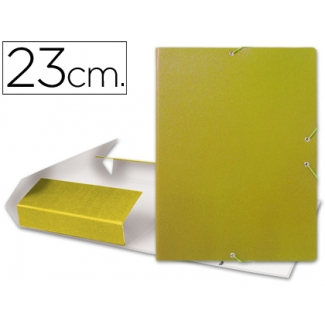 Carpeta lomo extensible vacia dos gomas cartón forrado geltex color amarillo