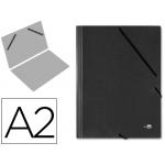 Liderpapel CG26 - Carpeta de cartón con gomas, sin solapas, tamaño A2, color negro
