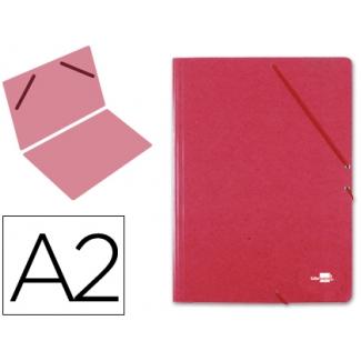 Liderpapel CG27 - Carpeta de cartón con gomas, sin solapas, tamaño A2, color rojo