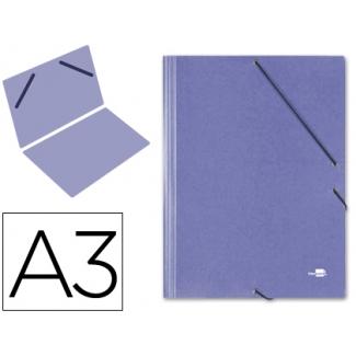 Liderpapel CG29 - Carpeta de cartón con gomas, sin solapas, tamaño A3, color azul