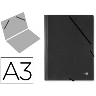 Liderpapel CG30 - Carpeta de cartón con gomas, sin solapas, tamaño A3, color negro