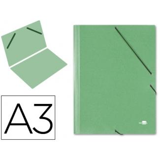 Liderpapel CG32 - Carpeta de cartón con gomas, sin solapas, tamaño A3, color verde