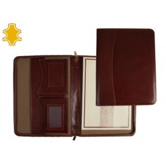 Carpeta portaformato folios artesanía de piel tamaño A4 color marron con cremallera y departamentos 343x255x30 mm