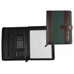 Carpeta portatamano folios 35-857-mv marron/verde 350x260 mm con cremallera con calculadora-con departamentos interiores
