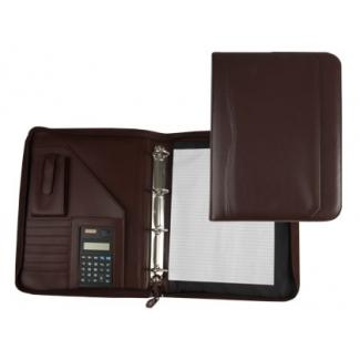 Carpeta portatamano folios 45-848 marron 260x355 mm cremallera 4 anillas 40 mm calculadora con bolsa para movil