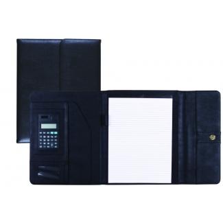 Carpeta portatamano folios 80-837 negra 315x245 mm con broche con calculadora con departamentos interiores