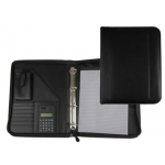 Carpeta portatamano folios 80-848 negra 260x355 mm cremallera 4 anillas 40 mm calculadora con bolsa para movil