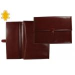 Carpeta portatamano folios artesanía de polipiel con broche medidas 36,5x26,5x3,5 cm cuero oscuro